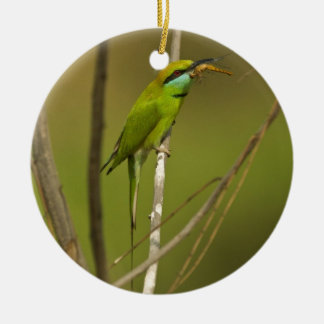 Green Bee-eater eating insect Round Ceramic Decoration