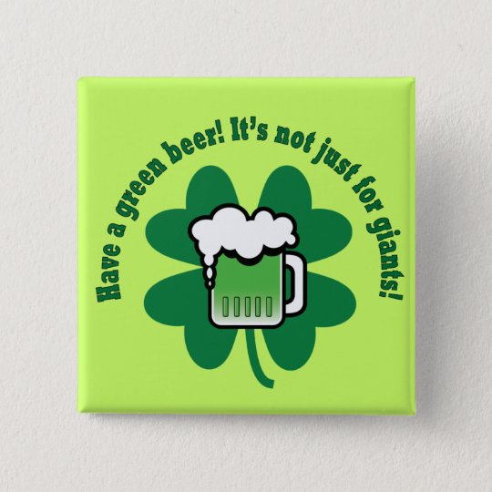 Green Beer 15 Cm Square Badge