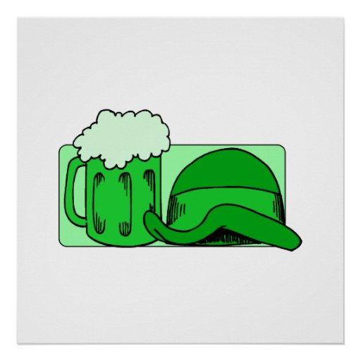 Green Beer & Hat Print