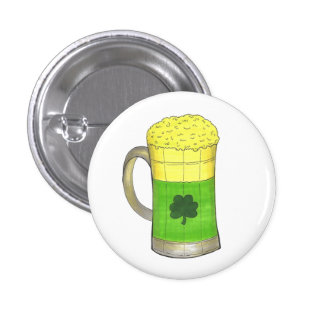 Green Beer Mug Shamrock Saint Patrick's Day Button