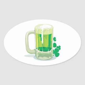 Green Beer Oval Sticker