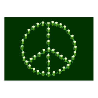 Green Beer Peace Sign Business Card Template