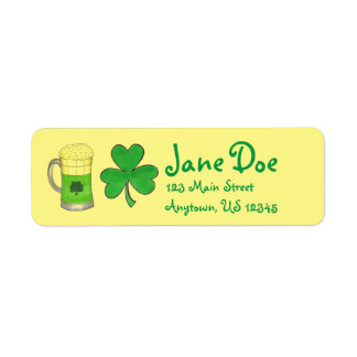 Green Beer Shamrock Irish St. Patrick's Day Labels