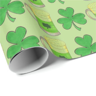 Green Beer Shamrock Saint Patrick's Day Gift Wrap Wrapping Paper