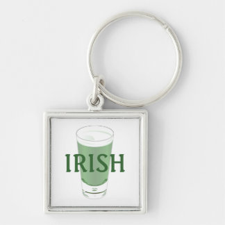 Green Beer Silver-Colored Square Key Ring
