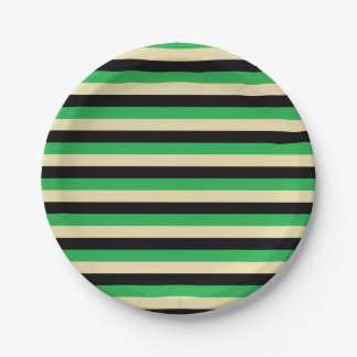 Green, Beige and Black Stripes Paper Plate