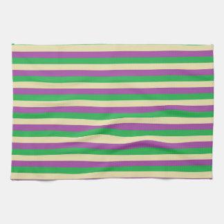 Green, Beige and Purple Stripes Tea Towel