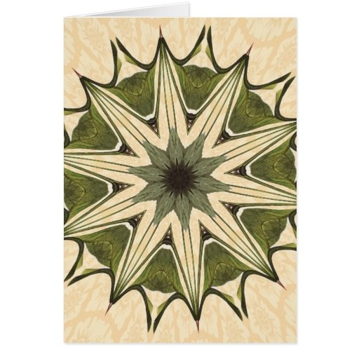 Green Beige Floral Kaleidoscope Greeting Cards