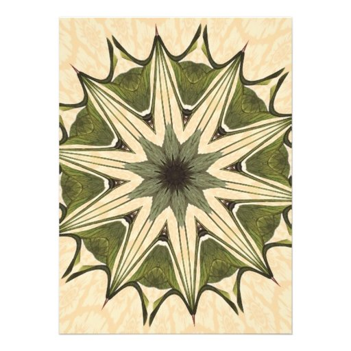 Green Beige Floral Kaleidoscope Custom Invitation
