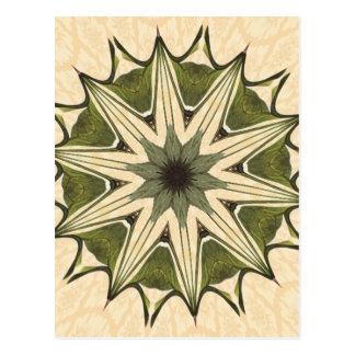 Green Beige Floral Kaleidoscope Postcard