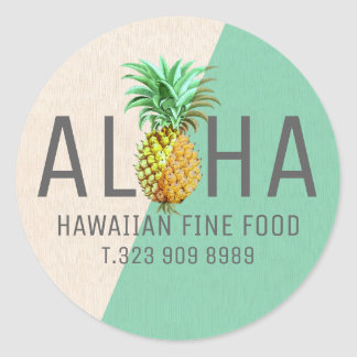 Green & Beige Linen Text Aloha With Pineapple Classic Round Sticker