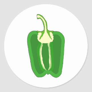 Green Bell Pepper. Halved. Classic Round Sticker