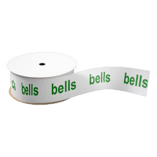 Green Bells (Bells Bells Bells) Word Phrase Grosgrain Ribbon