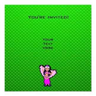 Green Belly Dancer 13 Cm X 13 Cm Square Invitation Card