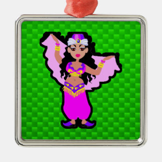 Green Belly Dancer Square Metal Christmas Ornament