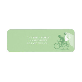 Green Bicycle Couple Wedding Return Address Label