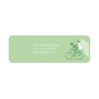 Green Bicycle Couple Wedding Return Address Label