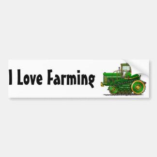 """""""Green Big Dozer Tractor1, I Love F…Bumper Sticker Bumper Sticker"""
