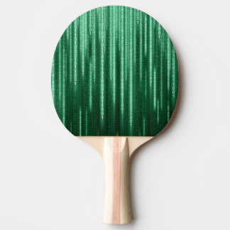 Green Binary Rain Ping Pong Paddle