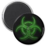Green Biohazard 6 Cm Round Magnet