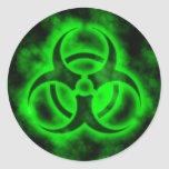 Green Biohazard Round Sticker