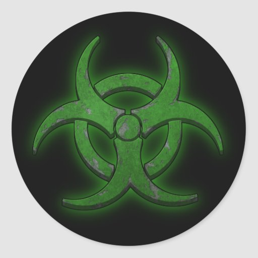 Green Biohazard Round Sticker | Zazzle