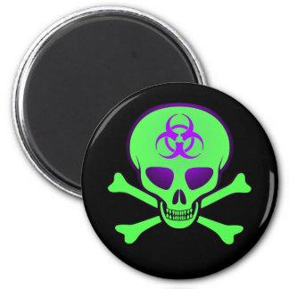 Green Biohazard Skull Magnet