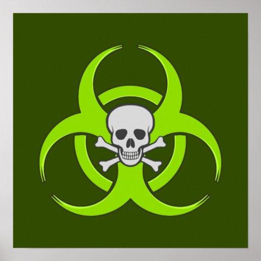 Green Biohazard Skull Posters