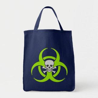 Green Biohazard Skull Tote Bag