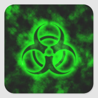 Green Biohazard Square Sticker