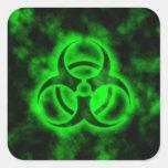 Green Biohazard Square Stickers