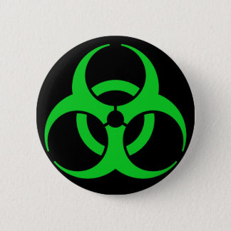 Green Biohazard Symbol 6 Cm Round Badge