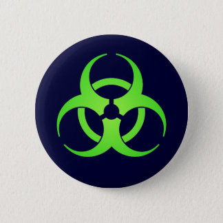 Green Biohazard Symbol Button