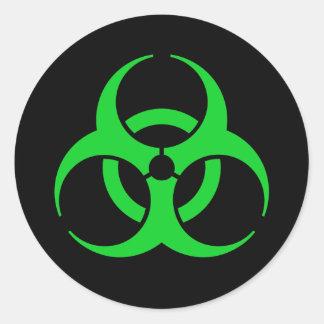 Green Biohazard Symbol Classic Round Sticker