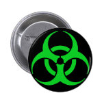 Green Biohazard Symbol Pinback Buttons