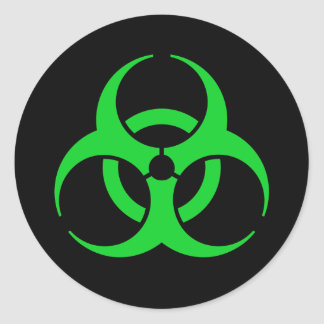 Green Biohazard Symbol Round Sticker