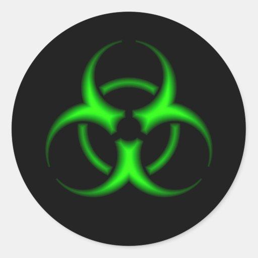 Green Biohazard Symbol Sticker Round Sticker