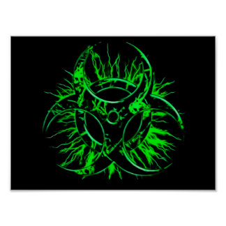 Green biohazard toxic fallout warning sign symbol poster