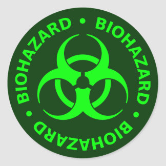Green Biohazard Warning Sticker