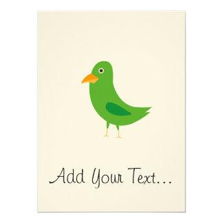 Green bird 14 cm x 19 cm invitation card