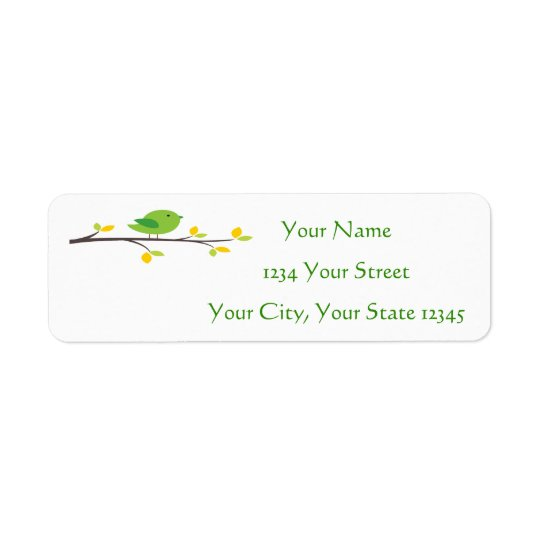 Green Bird Address Label
