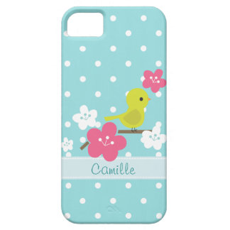 Green Bird and Cherry Flowers iPhone 5 Covers