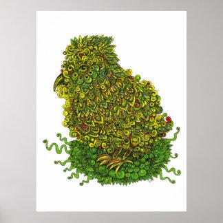 Green Bird In A Nest Poster