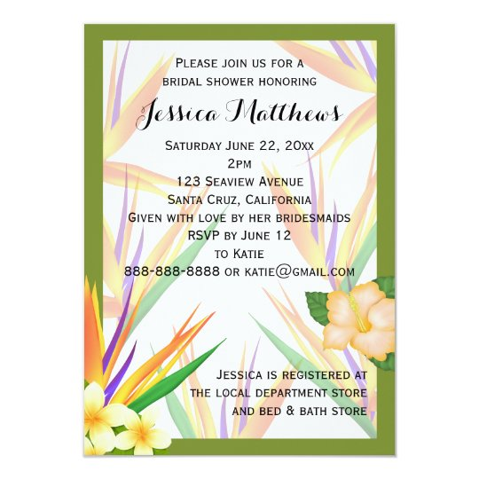 Green Bird Of Paradise Bridal Shower Wedding Invitation