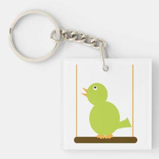 Green Bird on a Perch Key Chain