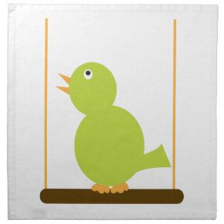 Green Bird on a Perch Napkins