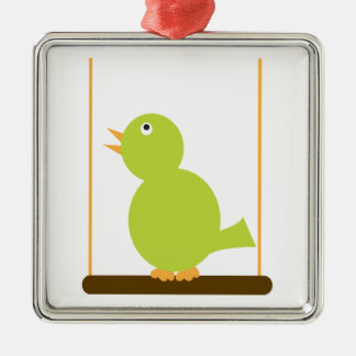 Green Bird on a Perch Ornament