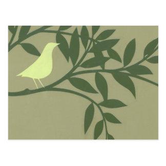 Green Bird Perched on Green Branch Postcard