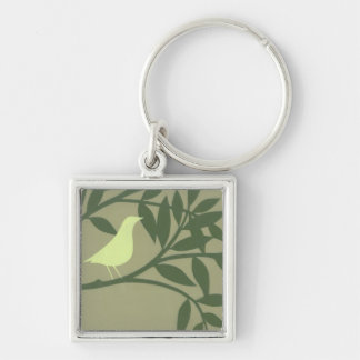 Green Bird Perched on Green Branch Silver-Colored Square Key Ring