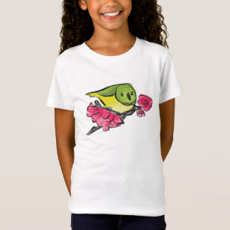 Green Bird with Pink Flowers Tshirt